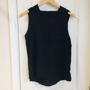 $5 Philosophy Black Sheer Sleeveless Hooded Top S